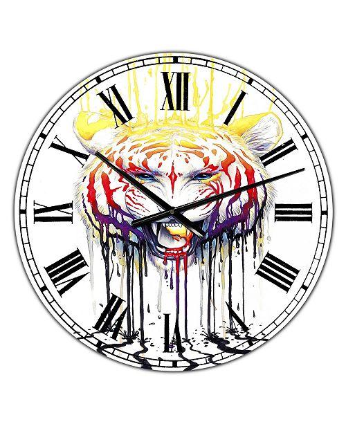 "Designart Wild Tiger Color Rage Large Cottage Wall Clock - 36"" x 28"" x 1"""