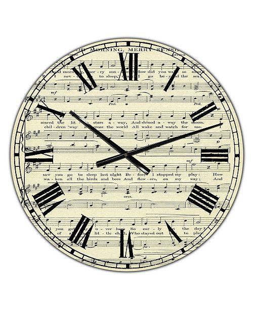"Designart Goodmorning Merry Sunshine Music Score Large Cottage Wall Clock - 36"" x 28"" x 1"""
