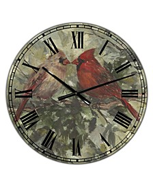 "Kissing Cardinals Large Cottage Wall Clock - 36"" x 28"" x 1"""