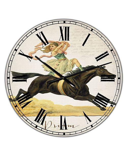 "Designart Dream Young Lady On Black Stallion Oversized Cottage Wall Clock - 36"" x 28"" x 1"""