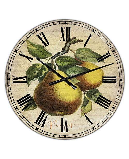 "Designart Pear Old Style Sketch II Large Cottage Wall Clock - 36"" x 28"" x 1"""