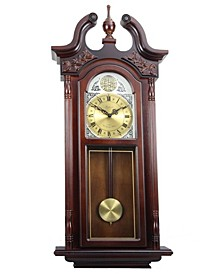 "Clock Collection 38"" Grand Antique Chiming Wall Clock with Roman Numerals"