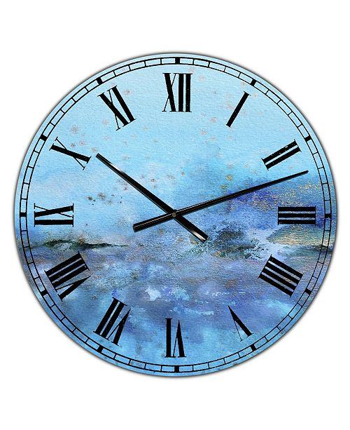 "Designart Blue and Gold Water Impression Large Modern Wall Clock - 38"" x 38"" x 1"""