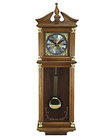 "Clock Collection 34.5"" Antique Chiming Wall Clock with Roman Numerals"