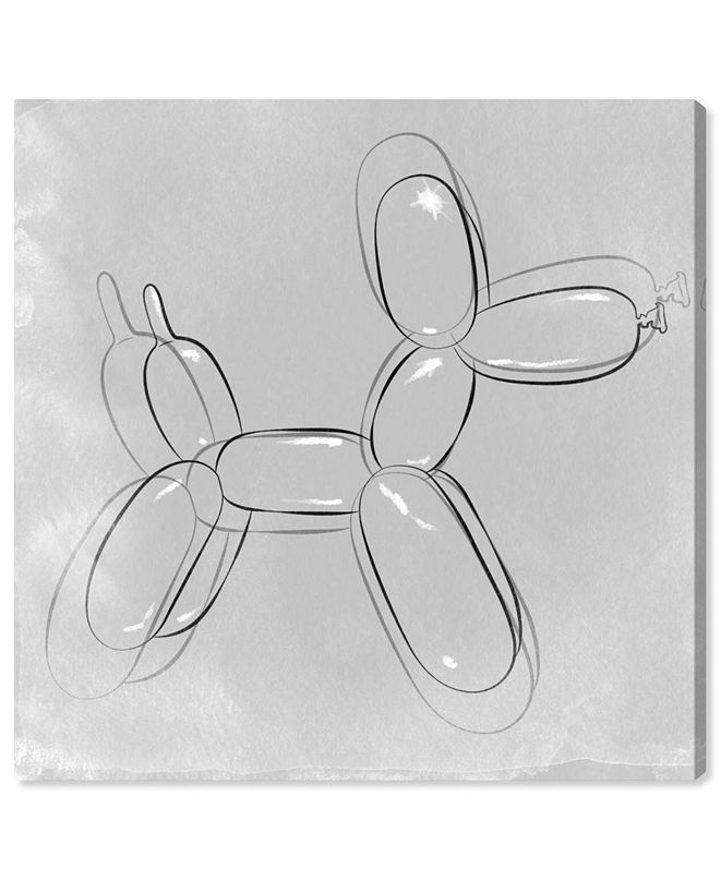 "Oliver Gal Balloon Dog Minimal Canvas Art, 16"" x 16"""