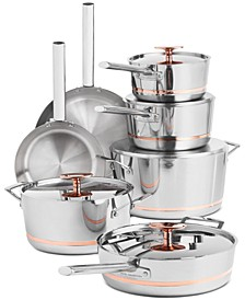 12-Pc. Stainless Steel with Copper Core Cookware Set, Created For Macy's