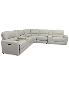 Danvors 7-Pc. Leather Sectional Sofa with 4 Power Recliners, Power Headrests, and 2 Consoles