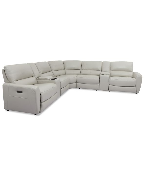 Furniture Danvors 7-Pc. Leather Sectional Sofa with 4 Power Recliners, Power Headrests, and 2 Consoles