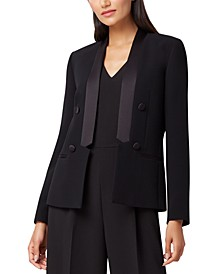 Satin Trim Double-Breasted Tuxedo Blazer