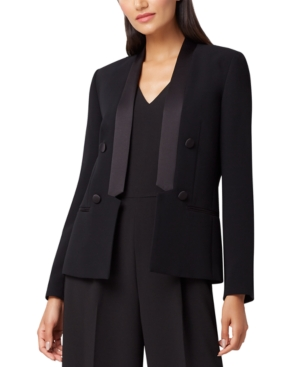 Vintage 1920s Dresses – Where to Buy Tahari Asl Petite Satin-Lapel Double-Breasted Tuxedo Blazer $89.40 AT vintagedancer.com