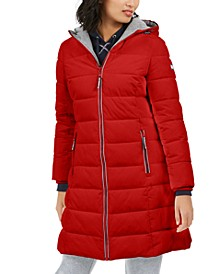 Front-Zip Hooded Puffer Coat