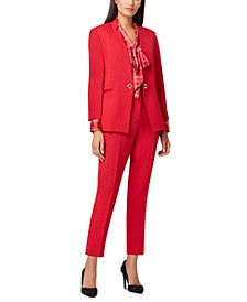 Petite Star-Neck Twill Jacket, Printed Tie-Neck Top & Slim-Leg Pants