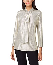 Petite Metallic Sash-Neck Top