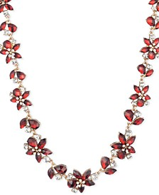 """Gold-Tone Crystal & Stone Flower Collar Necklace, 16"""" + 3"""" extender"""