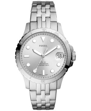 Women's Blue Diver Silver-Tone Stainless Steel Bracelet Watch 36mm