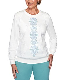 All About Ease Studded Embroidered Sweatshirt