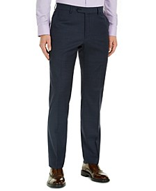 Men's Modern-Fit Navy Mini Grid THFlex Suit Pants