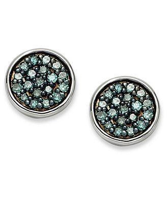 Sterling Silver Blue Diamond Stud Earrings (1/4 ct. t.w.)
