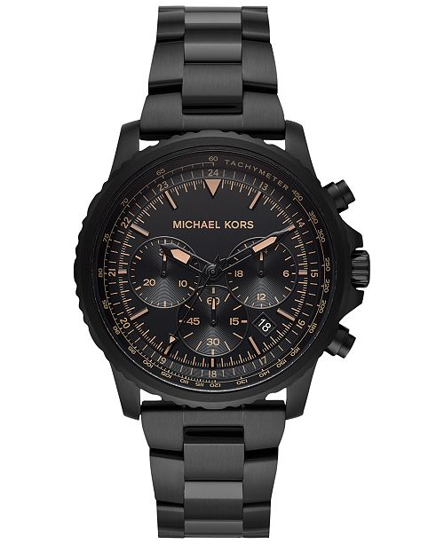 Michael Kors Men's Chronograph Cortlandt Black Ion-Plated Stainless Steel Bracelet Watch 42mm