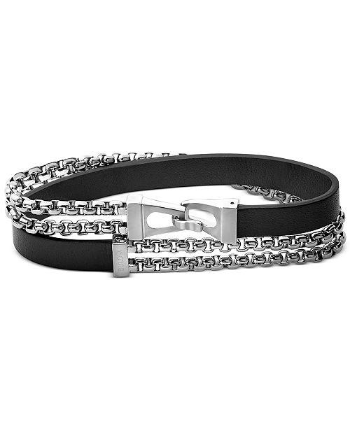 Bulova Men's Leather Wrap Bracelet in Sterling Silver, J96B015M