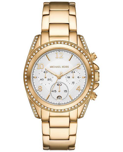 Michael Kors Women's Chronograph Blair Gold-Tone Stainless Steel Bracelet Watch 39mm