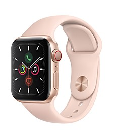 GPS + Cellular, 40mm Gold Aluminum Case with Pink Sand Sport Band