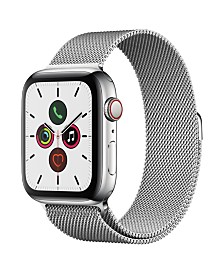 Apple Watch Series 5 GPS + Cellular, 44mm Stainless Steel Case with Stainless Steel Milanese Loop