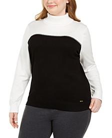 Plus Size Colorblocked Turtleneck Sweater
