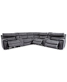 Hutchenson 7-Pc. Fabric Sectional with 3 Power Recliners, Power Headrests and 2 Consoles with USB