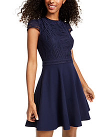 City Studios Juniors' Lace-Top Dress