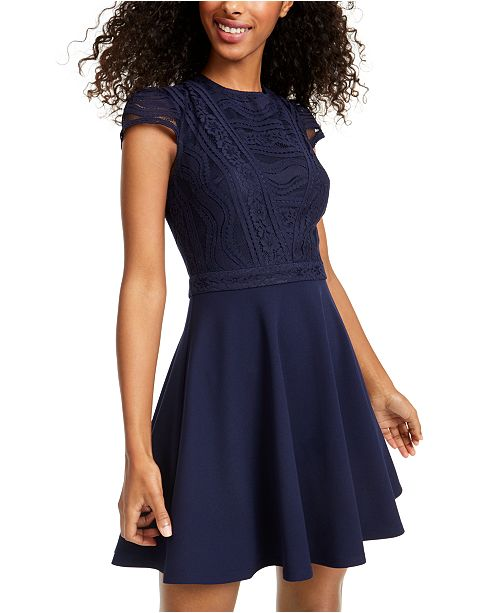 City Studios Juniors' Lace-Top Dress