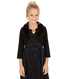 Big Girls Faux-Fur-Trim Cardigan & Metallic Jumpsuit