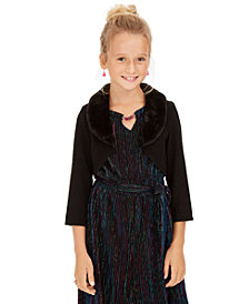 Sequin Hearts Big Girls Faux-Fur-Trim Cardigan