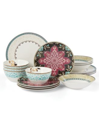 Global Tapestry Aquamarine 16-PC Dinnerware Set