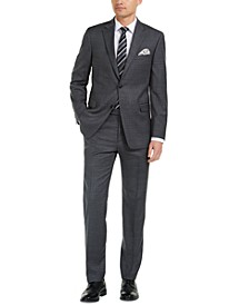 Men's Modern-Fit THFlex Stretch Gray/Blue Plaid Suit Separates
