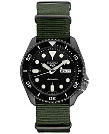 Men's Automatic 5 Sports Green Nylon Strap Watch 42.5mm
