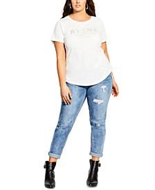 Trendy Plus Size Cotton French Love T-Shirt