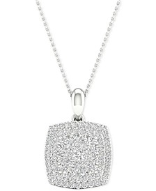 "Diamond Square Cluster Pendant Necklace (1/2 ct. t.w.) in Sterling Silver, 16"" + 2"" extender"