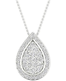 "Diamond Teardrop Cluster Pendant Necklace (1/2 ct. t.w.) in Sterling Silver, 16"" + 2"" extender"