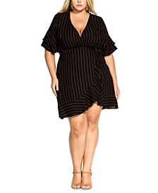 Trendy Plus Size Striped Faux-Wrap Dress