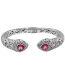 Pink Topaz (3-1/4 ct. t.w.)  Bali Heritage Classic Cuff Bracelet in Sterling Silver and 18k Yellow Gold Accents