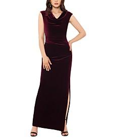 Petite Drape-Front Velvet Gown