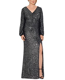 Plus Size Sequin V-Neck Gown