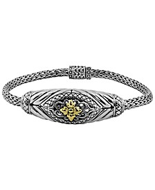 Bali Heritage Classic Bracelet with Dragon Bone Chain in Sterling Silver and 18k Yellow Gold Accents