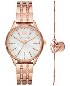 Women's Lexington Rose Gold-Tone Stainless Steel Bracelet Watch 36mm Gift Set