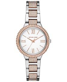 Women's Mini Taryn Two-Tone Stainless Steel Pavé Bracelet Watch 33mm