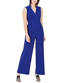 Star-Neck Scuba Crepe Jumpsuit