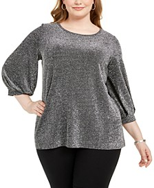 Plus Size Metallic Bishop-Sleeve Top, Created For Macy's