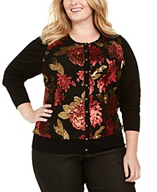 Plus Size Floral Sequin Cardigan, Created For Macy's