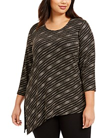 Plus Size Asymmetrical Metallic Top, Created For Macy's